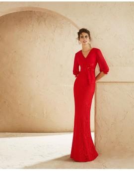 Vestido largo crepe y encaje rojo