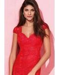 Vestido largo encaje tul rojo