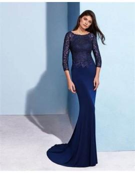 vestido largo crepe elastico y encaje