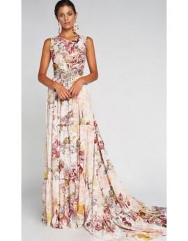 Vestido largo flores/ cortes falda