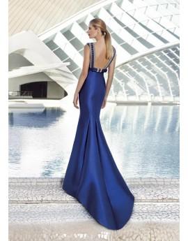 Vestido ceremonia seda azul noche