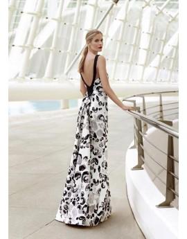 Vestido corte sirena blanco/negro