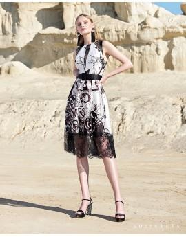 vestido midi estampado blanco y negro