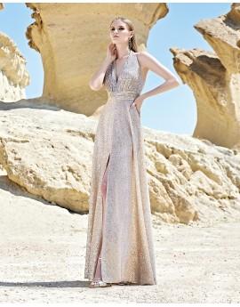 vestido largo de lentejuelas escote halter