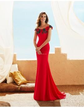 Vestido largo rojo flores encaje en escote